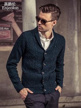 Enjeolon брендовый Зимний вязаный кардиган свитер мужской большой размер 3XL одежда Мужской Хлопковый горошек Однотонный свитер для мужчин M2020