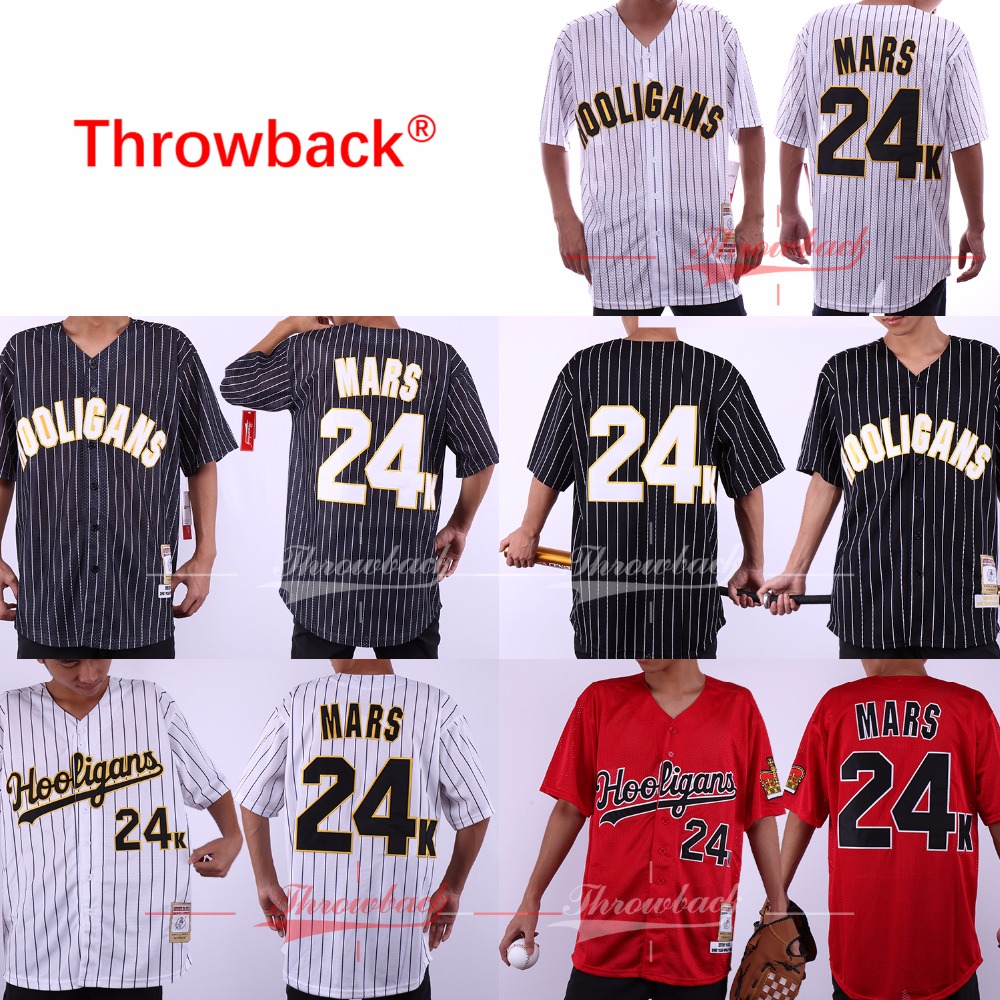 Throwback Bruno Mars 24K Hooligans Baseball Jersey 100% Stitched Color White Pinstriped Black Red Size S-3XL
