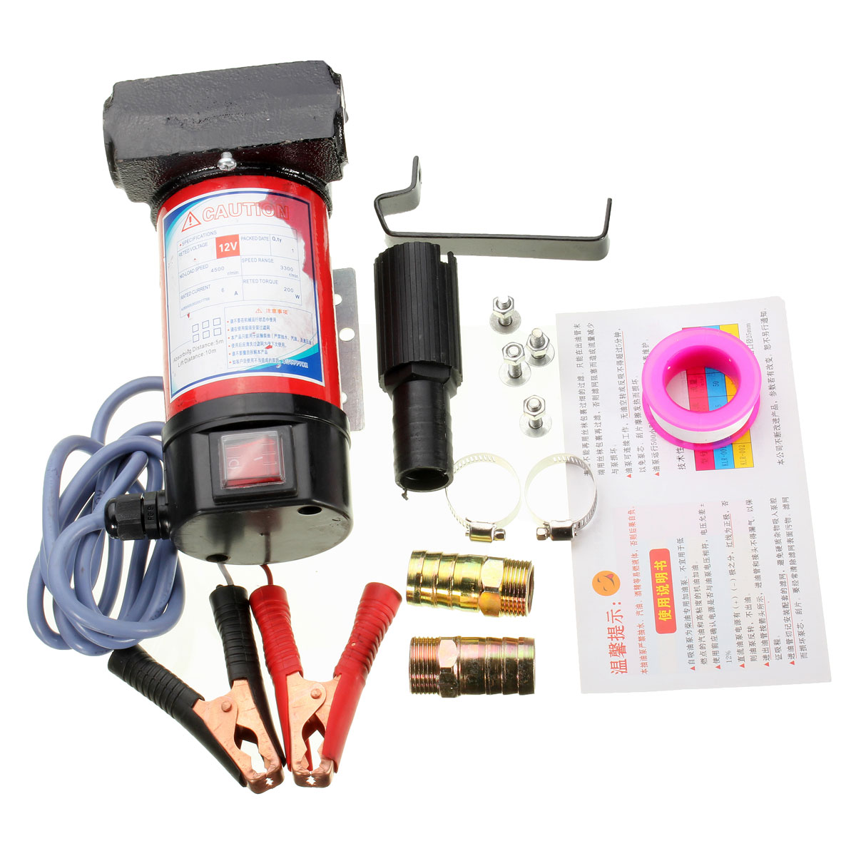 12V Portable Electric Cast iron Pump for Diesel Oil Transfer Pump 40L/Min 12v high lift electric diesel oil pump fuel oil transfer oil metering pump unit with digital watches