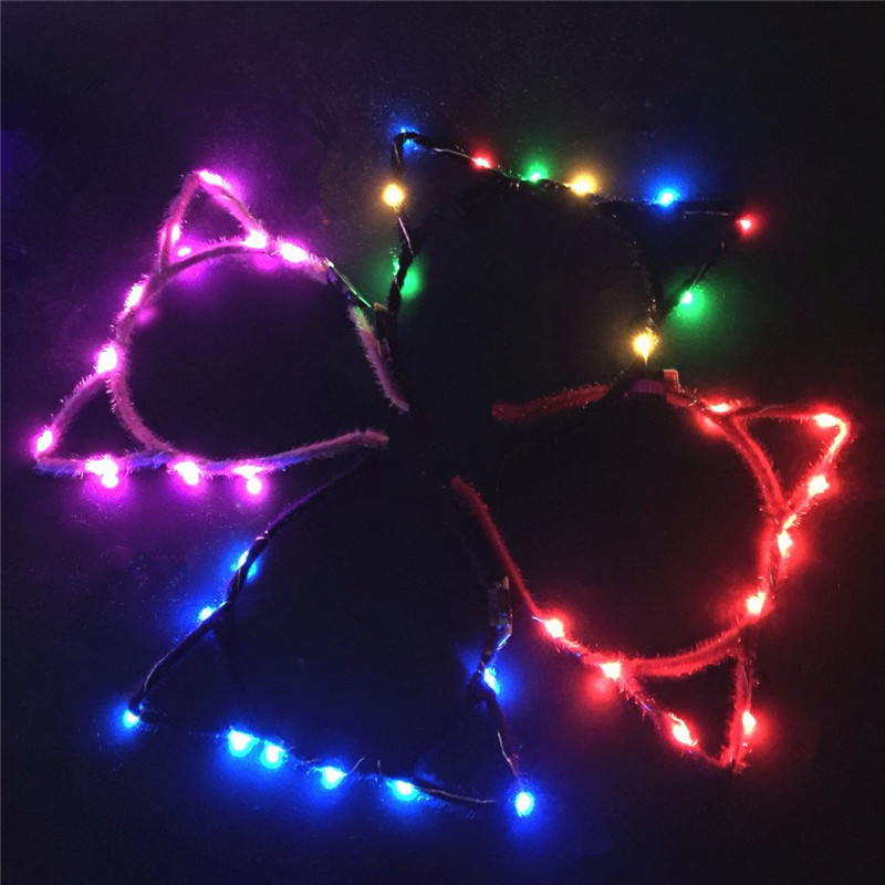 Women Girls LED Flashing Cute Pointed Cat Fox Ears Hair Hoop Glowing String Lights Plush Cloth Wrapped Headband Party Supplies 2