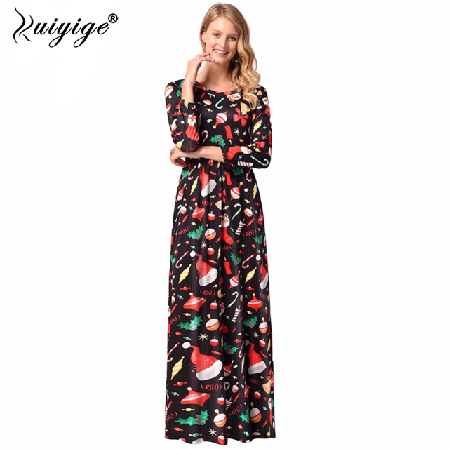 Ruiyige Autumn Winter Dress Women Christmas 3D Tree Gift Print Dress Long  Santa Snowman Casual Party Loose Dresses Vestidos Muje 75f45712b6ec