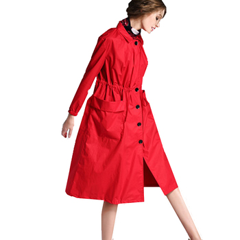 female spring cotton breathable long sleeved loose large size was thin long waist coat tide Womens red trench coat overcoat