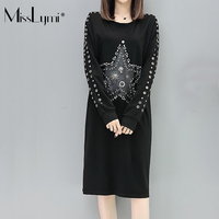 MissLymi 5XL Plus Size Women Dress 2017 Witer Fleece Harajuku Beads Hollow Out Long Sleeve Patches