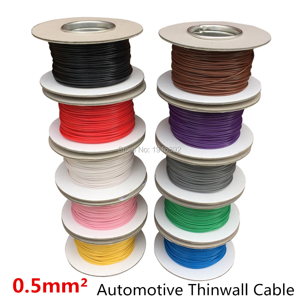 50 Metre x 0.5mm2 Thinwall Twin Core 2 Core Two Core Cable Red//Black 11 Amp Wire
