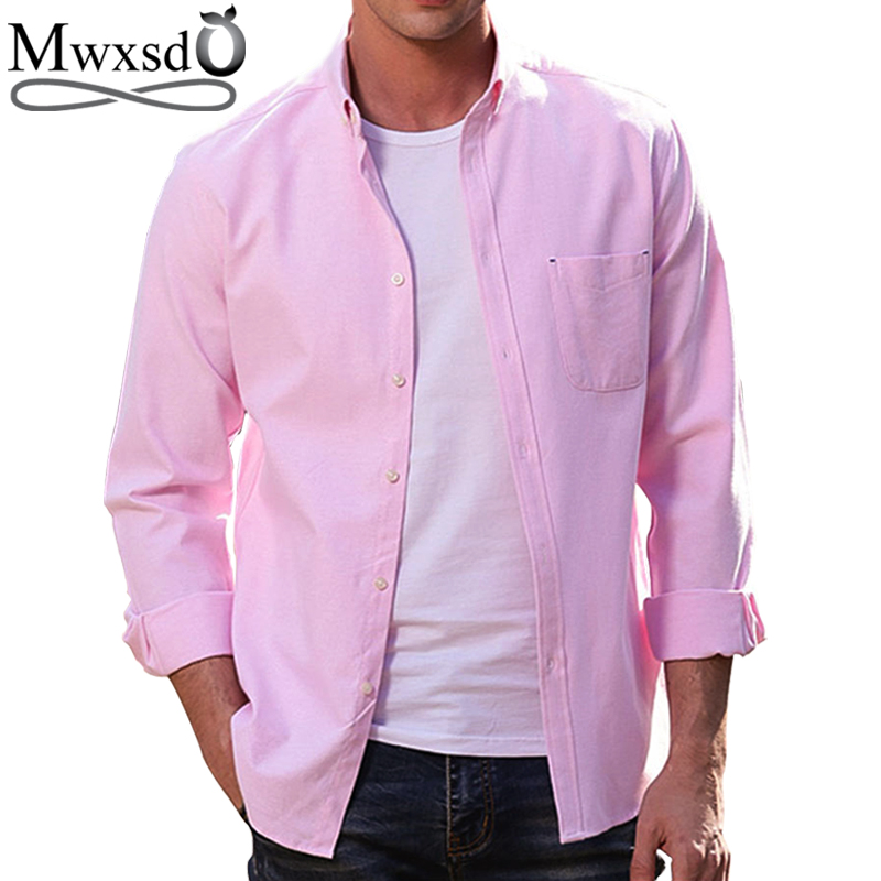 Mwxsd high quality Casual Mens oxford cotton Shirt Men solid classic long sleeve slim Fit soft shirt camisa social masculina