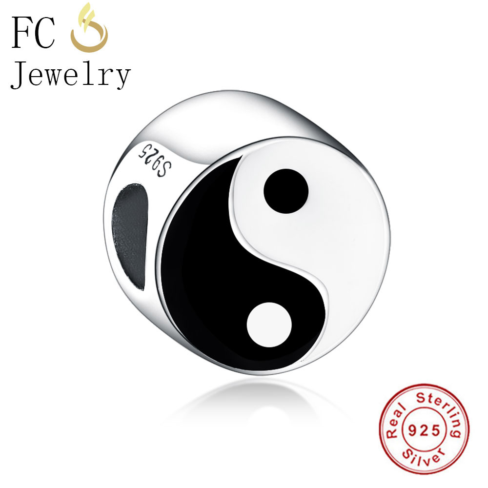 FC Jewelry Fit Original Pandora Charms Bracelet 925 Silver Yin Yang Black and White Tai Chi Gossip Beads for DIY Making Berloque