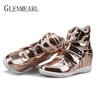 Women Sneakers Boots Winter Warm Height Increasing Casual Shoes Flat Platform High Top Gold Sliver Female Ankle Boots Shoes DE