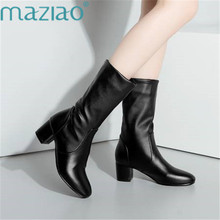 hot deal buy high quality mid calf boots women soft leather sexy boots comfortable round toe long thick heels boots size 34-43 maziao