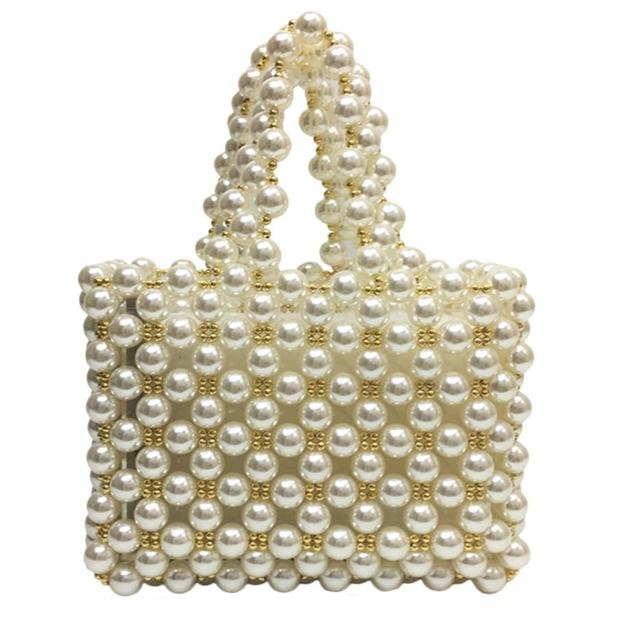 Ins Iuxury Plush Handmade Pearl Bags Brand Scarf Top Handle Women Handbags Wedding Bride Evening Bag Pearl Lady Hand Bag 2019 Top-handle Bags