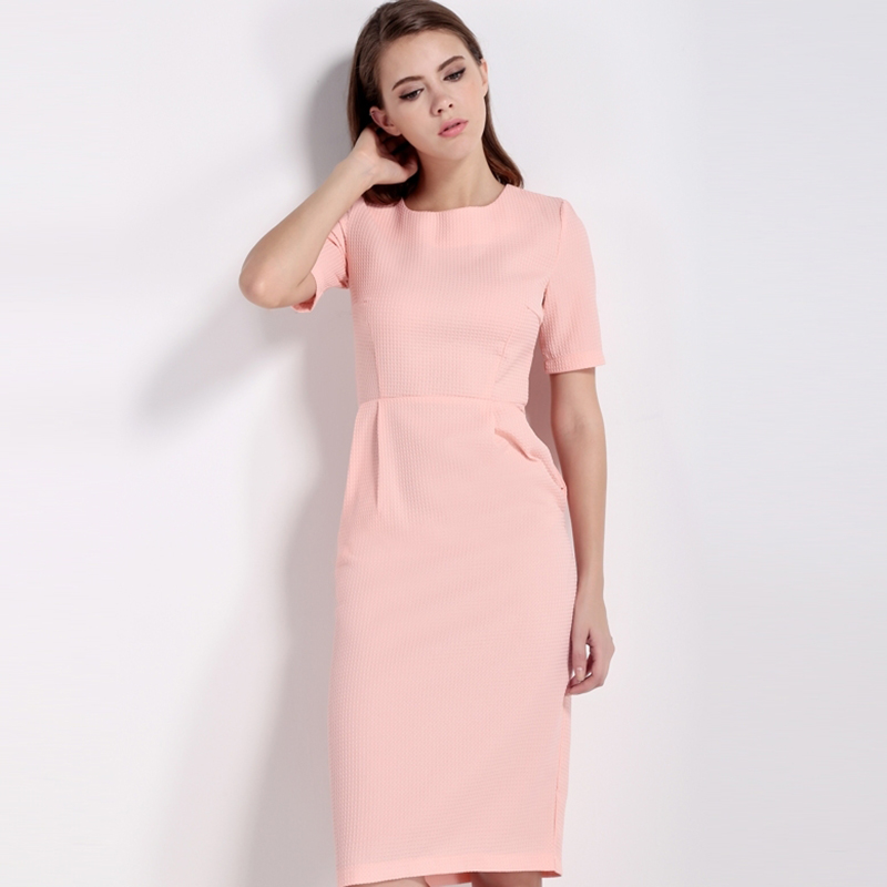 HDY Haoduoyi 2017 New Fashion Women Bodycon Dress Summer Solid Pink Short Sleeve Female Dress O Neck Cute Sexy Empire Dress 5