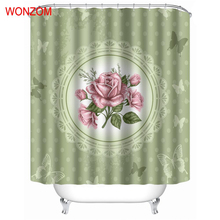 WONZOM Green Modern Polyester Pink Rose Waterproof Shower Curtains For Bathroom Fabric Elegant Bath Curtain With Hooks Gift