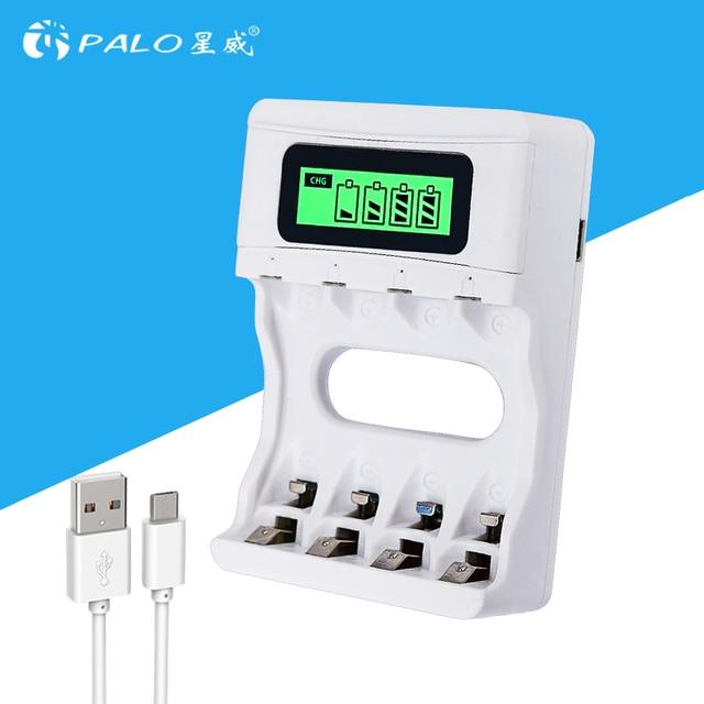 Intelligente LCD Display AA/AAA Batterij Lader Voor Ni-Cd Ni-Mh Oplaadbare Batterijen USB Ingang