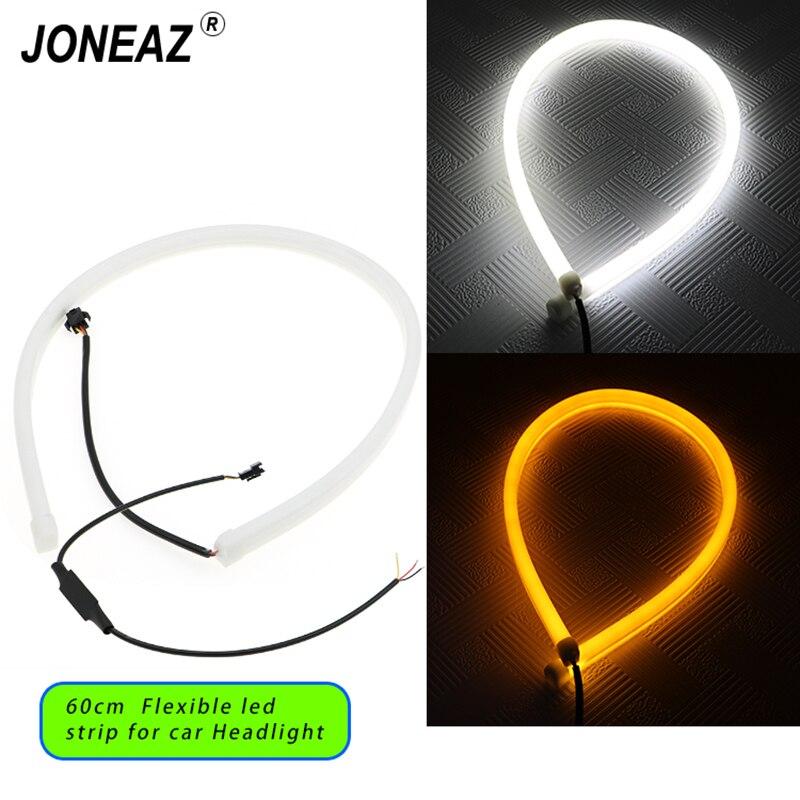 цена на 2Pcs 60cm Flexible Car Soft Tube LED Strip Light Angel Eye Daytime Running Headlight Lamp White DRL and Yellow Turn Signal Light