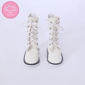 Image 2 - Buty dla lalki BJD 1 para 6.5cm PU skórzane buty moda Mini zabawka koronki brezentowych butów 1/4 lalki dla Fairyland Luts lalki akcesoria