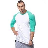 Brand Men Fashion T Shirt 2017 Spring Summer Slim Shirts Male Tops Leisure Bodybuilding Half Sleeve