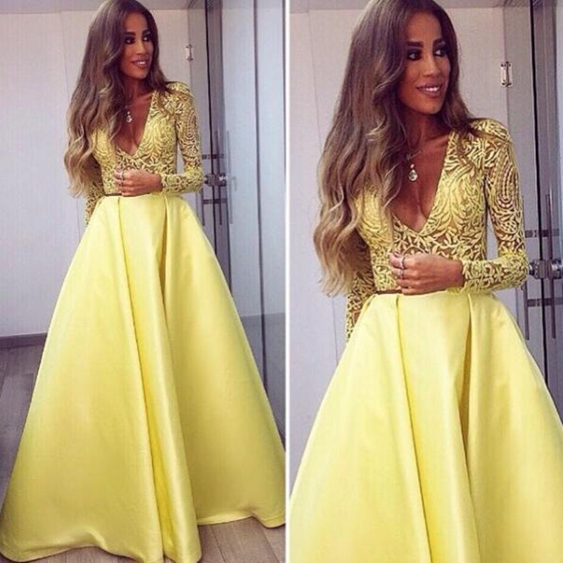 New Abendkleider 2017 Sexy V-Neck Yellow A-Line Long Evening Dresses Long Sleeve Lace Prom Gown Formal Dresses Vestidos De Noite