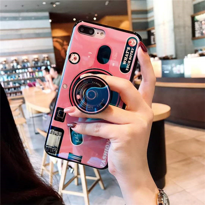Retro Camera Case For Vivo Y53 Y55 Y83 Y69 Y66 V5 V5S Case Silicone Cute  Stand Holder Cover For Vivo V7 X7 X9 X9S X20 Plus cases