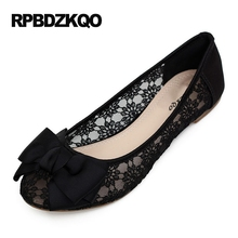Flats Round Toe Ladies Beautiful Shoes Bow Size 41 Hollow Out Lace Women Breathable Large Cheap Floral Black European Fashion