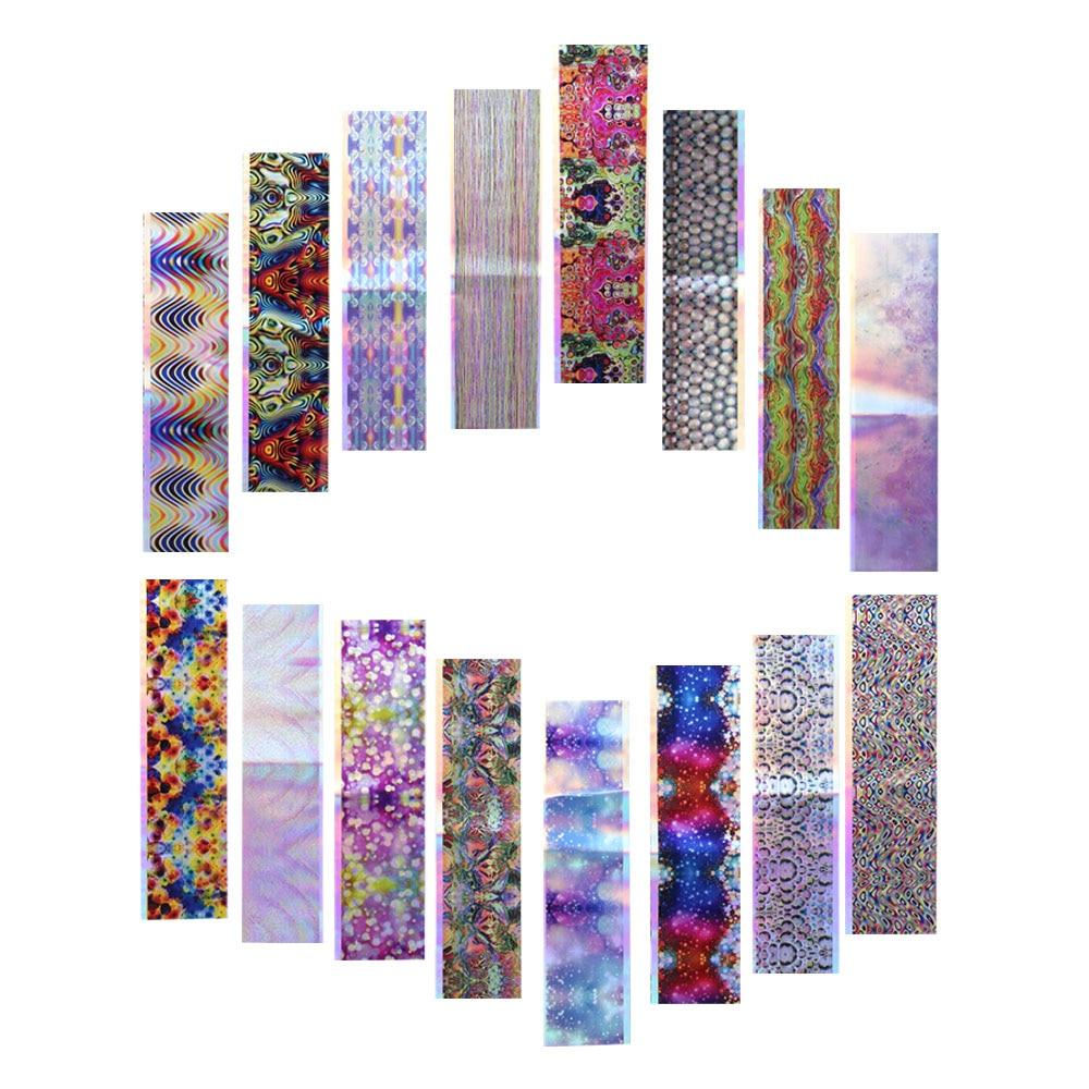 16 Stücke Holografische Aufkleber Nägel Folien Blase Streifen Starry ...