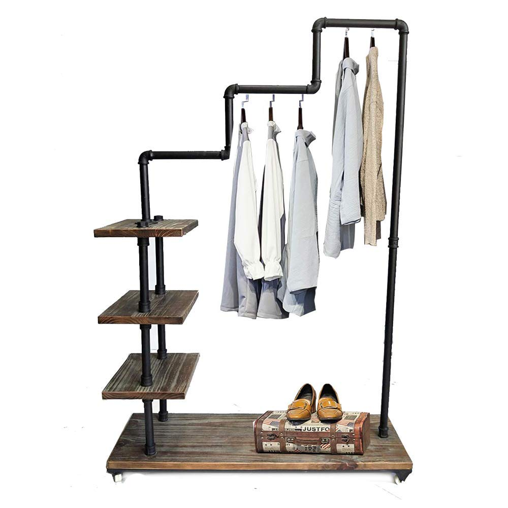 Industrial Pipe Clothing Rack Pine Wood Shelving Shoes Rack Cloth Hanger Pipe Shelf 4 Layer