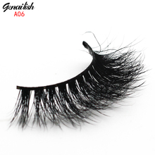 Genailish Mink Lashes False Eyelashes Soft Natural Eyelashes Handmade Fake Eye Lash Extension for Makeup-A06