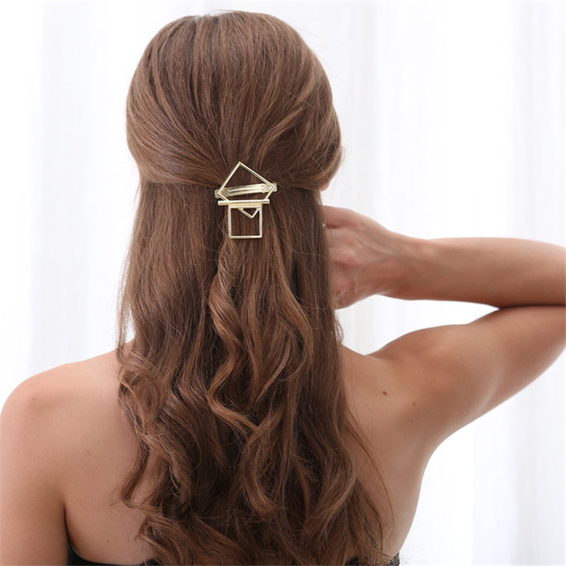 MWsonya New Women Gold Geometric Barrettes Square Pattern Hair Clips Hair Accessories 4H4013