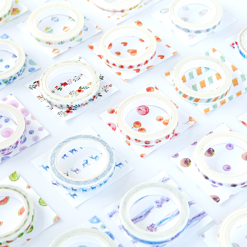 26 Plants Flowers Watercolor Painting Decorative Scotch Tape Adhesive Masking Washi Tape Paper Stickers For Scrapbooking