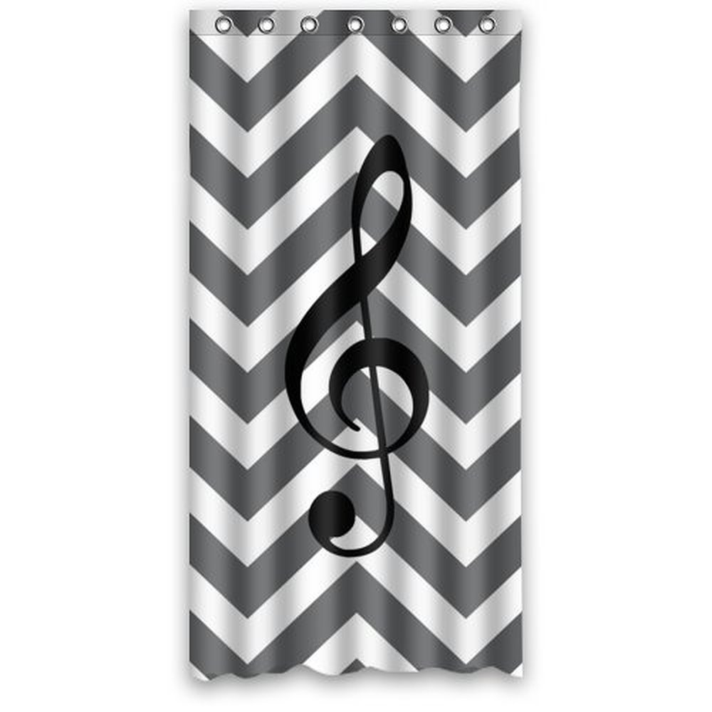Great 36w 72h Inch Creative Music Note With Grey And White Chevron