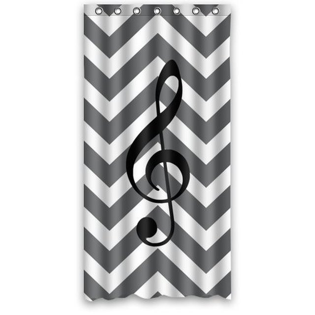 36w*72h inch Creative Music Note With Grey and White Chevron Pattern ...