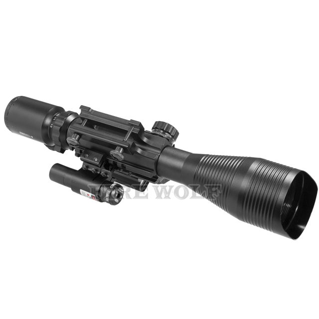 FIRE WOLF 4-12x50 Illuminated Rangefinder Reticle Rifle Scope Holographic 4 Reticle Sight 11mm 20mm Red Laser Combo Riflescope 5