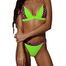 Neon Green Snake Print Bikini 2019 Sexy Patchwork Purple Swimsuit Push Up Micro Thong Brazilian Women Bathing Suit S-L