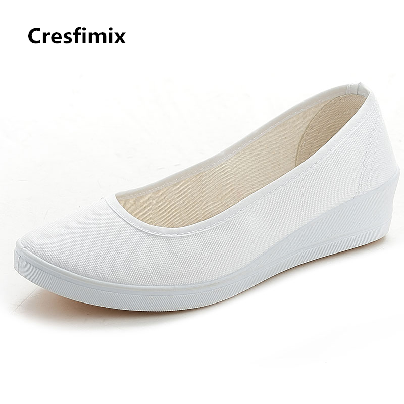 Cresfimix Women Cute Spring & Summer Nurse Shoes Lady Pro Wedge Heel Slip On Shoes Female Soft And Comfortable Shoes Zapatos