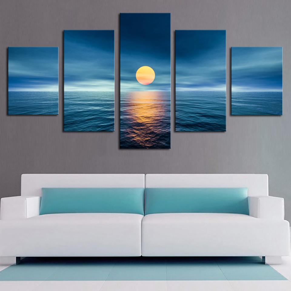 Canvas HD Print Painting Modular Pictures Art Poster 5 Panel Sea Full Moon Landscape Frame Wall Modern Home Decor Living Room|art poster|modern home decorprints painting - AliExpress
