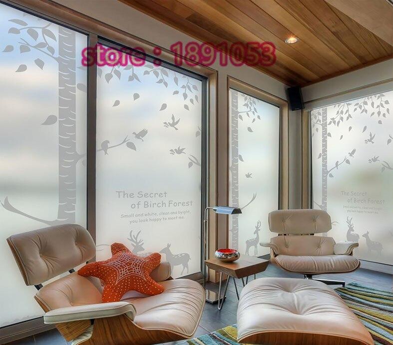 PVC 60x88cm living room bathroom leaf pattern anti static film stickers affixed to glass <font><b>wardrobe</b></font> <font><b>sliding</b></font> doors glass paste film