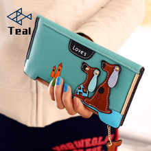 Cute Cartoon Fashion Puppy Zipper Long Wallet Dog 6 Colors PU Leather Women Wallets Ladies Clutch Card Holder