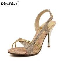 Rizabina бесплатная доставка высокие сандалии пятки женщин сексуальное платформа модной обуви обувь p14487 eur размер 34-39