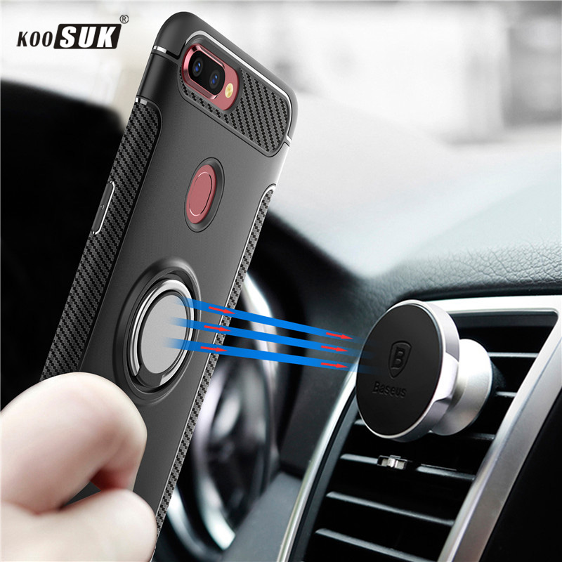 F9 Case Luxury Car Phone Case For OPPO F9 Pro Cover Soft Silicone Cases Slim Ring Magnetic Holder Slip Cover sFor OPPO f9 Fundas