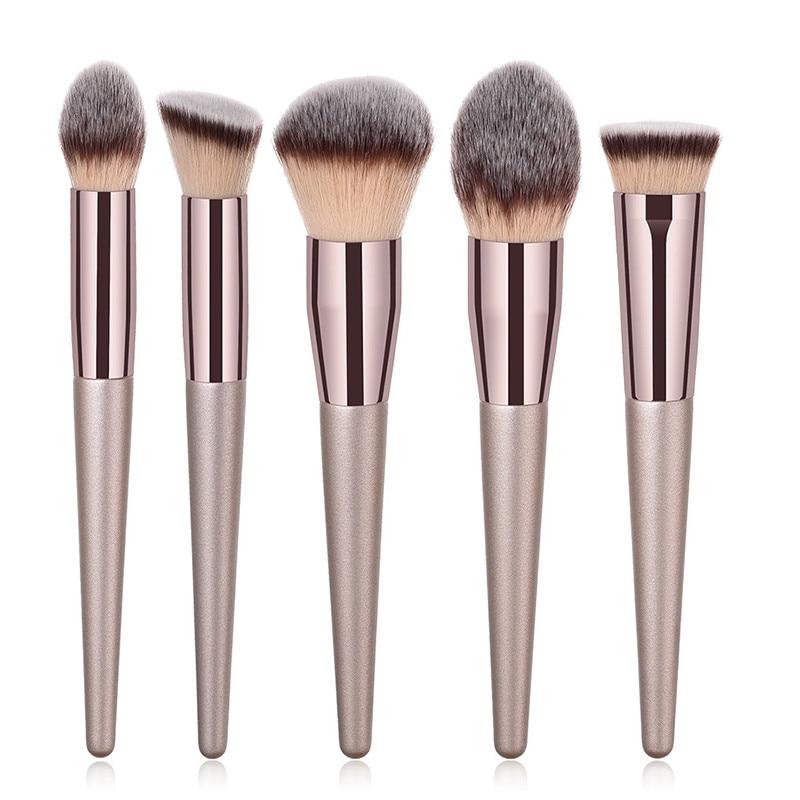 Champagne makeup brushes set for blush eyeshadow 6