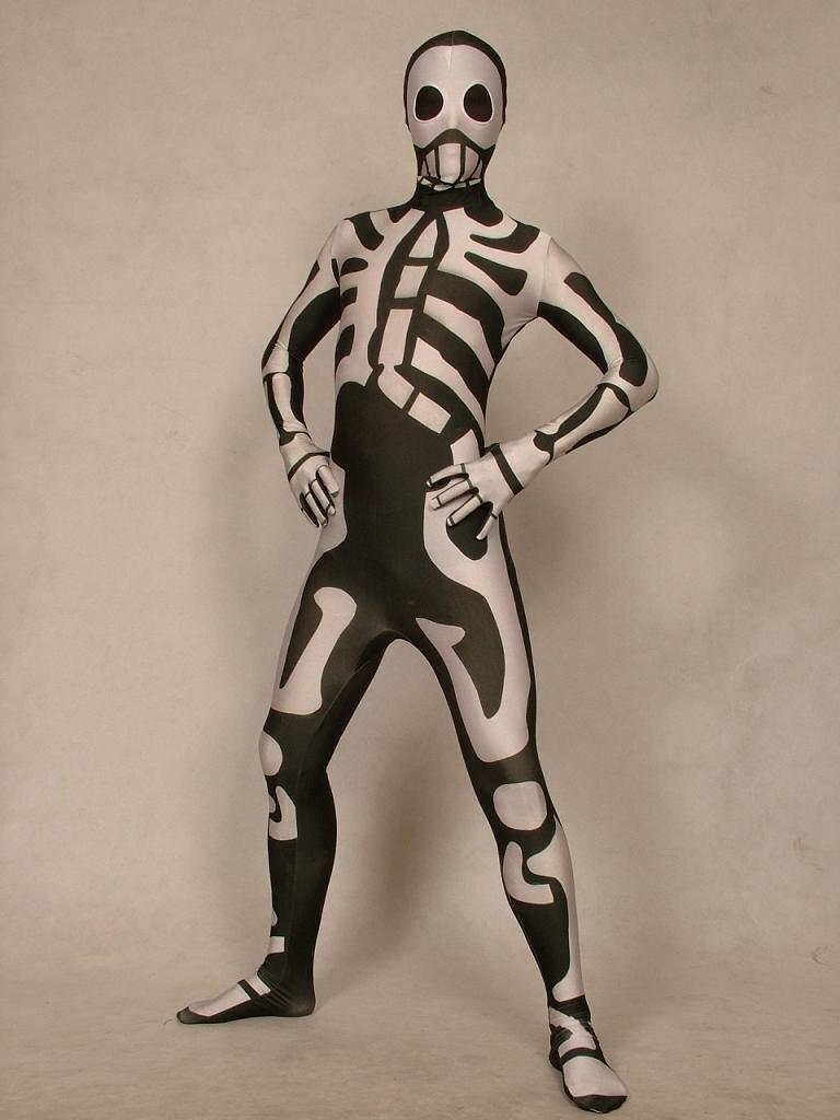 Competent Halloween Brown Skelet/skull Full Body Lycra Spandex Zentai Scary Kostuum Bodysuit Volwassen Grootte Om Een Hoge Bewondering Te Winnen En Is Op Grote Schaal Vertrouwd Thuis En In Het Buitenland.