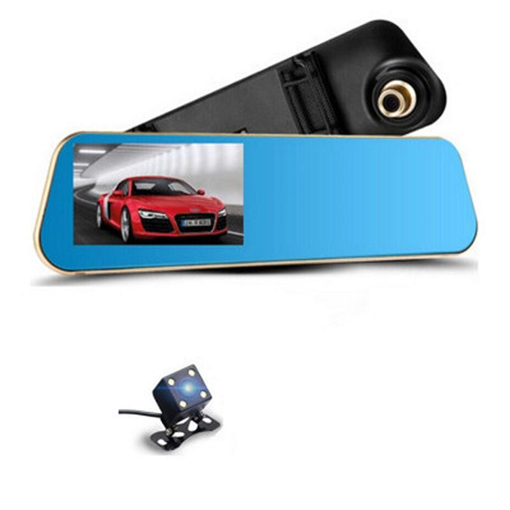 Image 1 - 4.3 inch 1080P Car DVR Camera Mirror with Rear View Camera Dual Lens Auto Driving Video Recorder G sensor Vehicle Dash Cam-in DVR/Dash Camera from Automobiles & Motorcycles