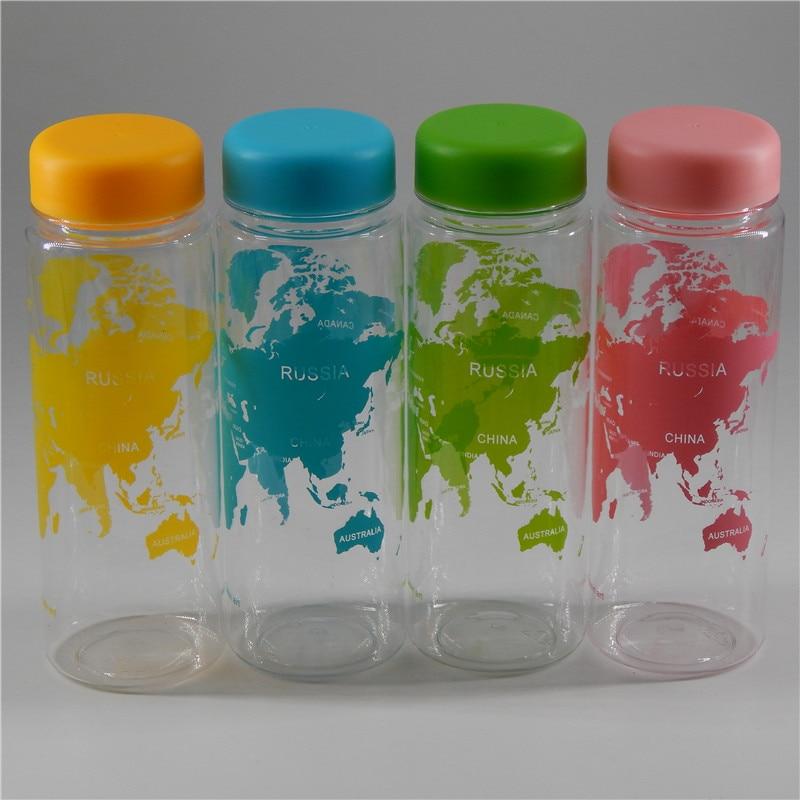 New portable plastic Bottl water bottle accompanying map of the world series Bottle 500ml Lemon Juice Sports Water Bottle