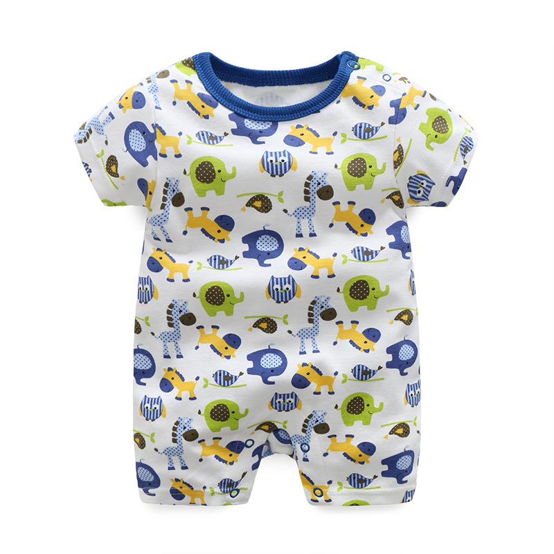 2017 Summer cartoon Infant Boy  girls Cotton Rompers Casual Comfortable Newborn Baby Clothes Toddler Boys Short Sleeve jumpsuits 2016 hot baby rompers boys girls cartoon short sleeve baby rompers cotton newborn baby clothes jumpsuits clothing mama printed