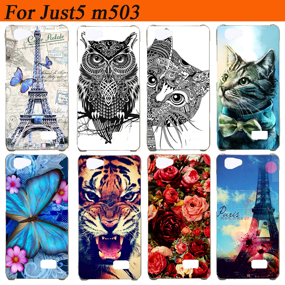 For just5 m503 Case Cover Silicon Diy Colored Tiger Owl Rose Eiffel Towers Soft Tpu Back Cover For just5 m503 Cases Fundas Capa image