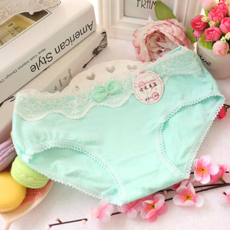girl's underwear 5pc/bag lace cotton candy low waist  briefs young girl panties  Teenagers wholesales mix 5 style 4