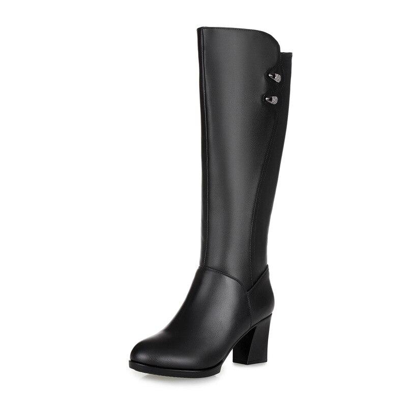 2017 Frauen Schwarz Kniehohe Stiefel Aus Echtem Leder Lange Stiefel Herbst Winter Damenmode Warme Hohe Ferse Arbeitsschuhe Stiefel Schnee Schuhe