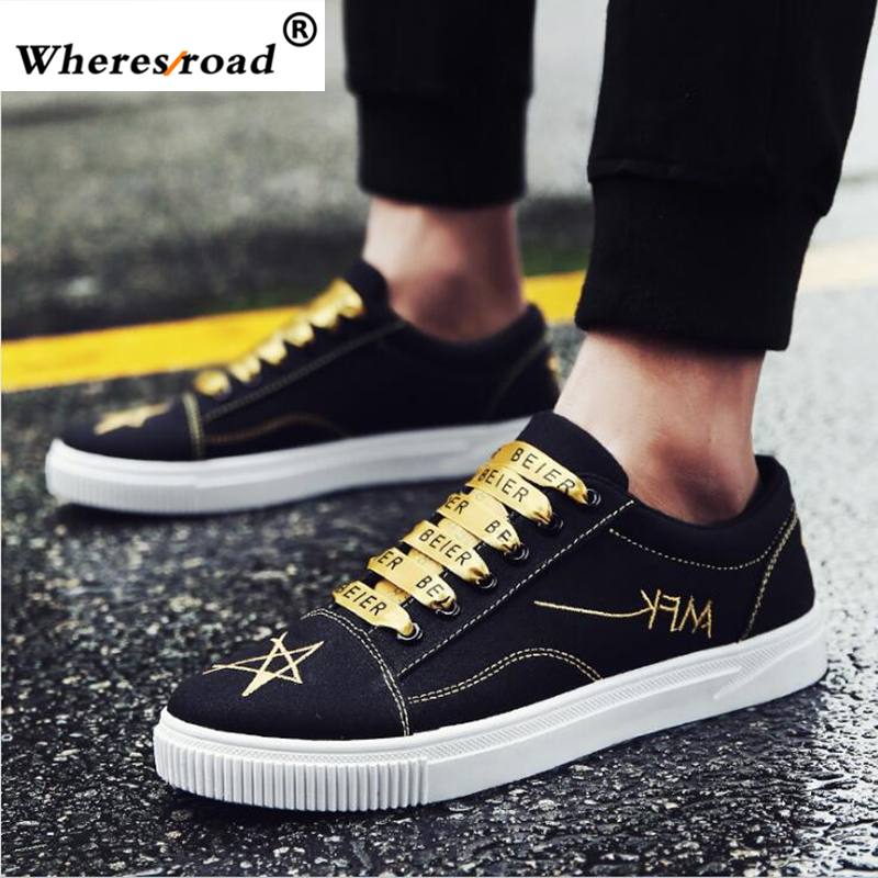 Wheresroad 2018 Hot Top Men Cause Shoes Superstar Luxury Brand Casual Black Old School Men's Shoes Canvas Fashion Human Sneakers hot sale 2016 top quality brand shoes for men fashion casual shoes teenagers flat walking shoes high top canvas shoes zatapos