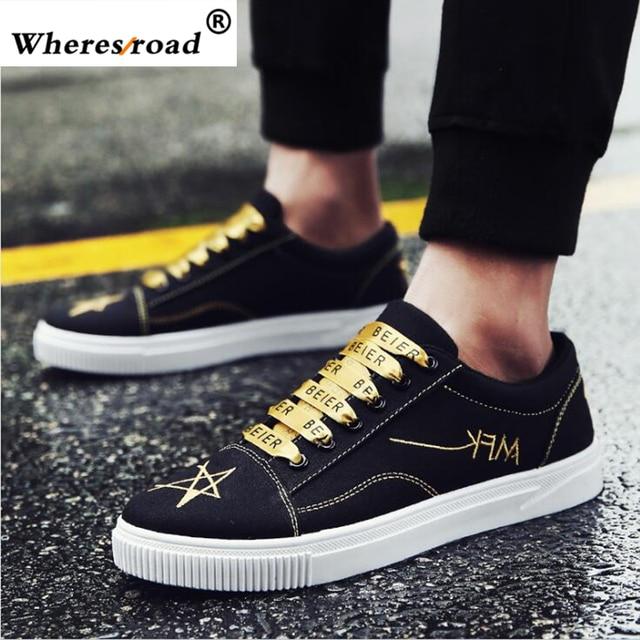 34b18a8edb543f Wheresroad 2018 Hot Top Men Cause Shoes Superstar Luxury Brand Casual Black  Old School Men s Shoes