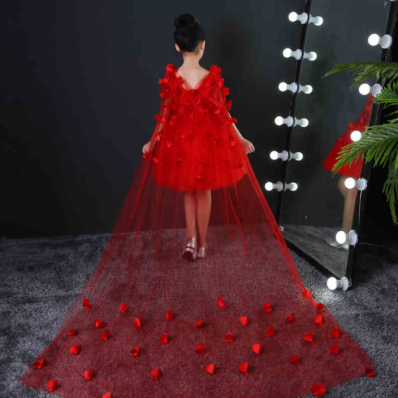 Long trailing Flower Girls Dresses For Wedding Gowns Bead Appliques Lace Girl Birthday Dress Tulle Pageant