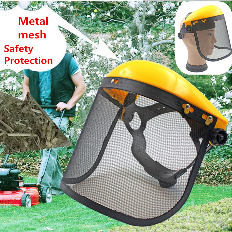 Large Steel Metal Mesh Visor Safety helmet hat for chainsaw brush cutter forestry Mower face protective mask Anti-shock visors