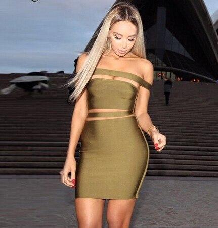 Высококачественное черное облегающее платье с вырезом-лодочкой высокого качества, сексуальное модное вечернее платье - Цвет: Армейский зеленый
